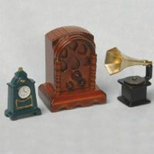 Miniature  Gramophone, Radio, Clock