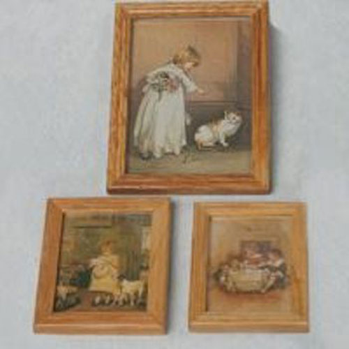 Miniature Nostalgic Vintage Children Pictures x 3