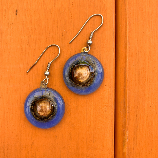 Round Basic Earrings in Glass & Metal in Blue Tones by Cristalida