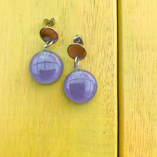 Pop Earrings in Glass & Metal in Lilac Tones by Cristalida