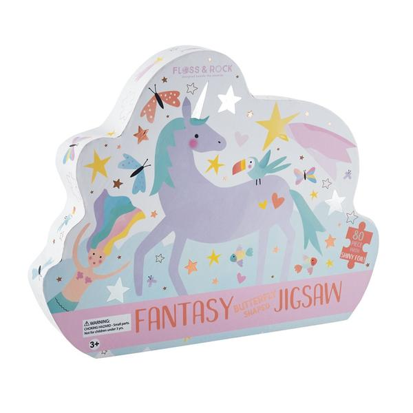 Floss & Rock Fantasy 80pc  Butterfly Shaped Jigsaw with Shaped Box & Unicorn