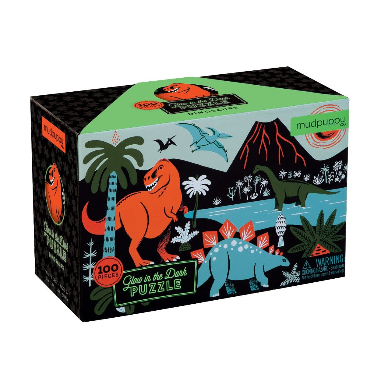 Glow in the Dark Dinosaur Puzzles by Mudpuppy 100pc 5+