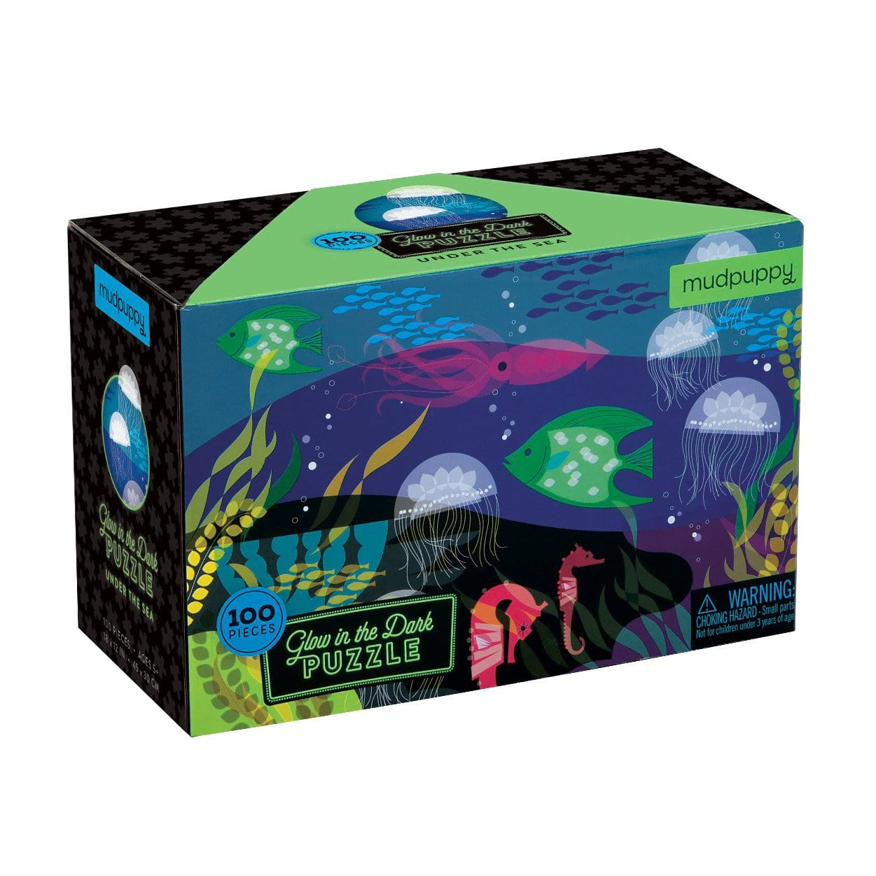 Glow in the Dark Under the Sea Puzzles by Mudpuppy 100pc 5+