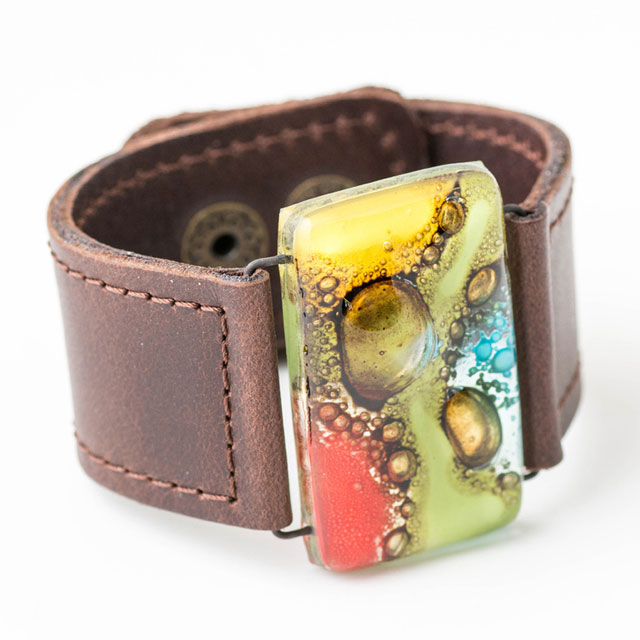 Chocolate with tones of Red,Yellow,Aqua,Green Glass and Leather 3cm Cuff by Cristalida