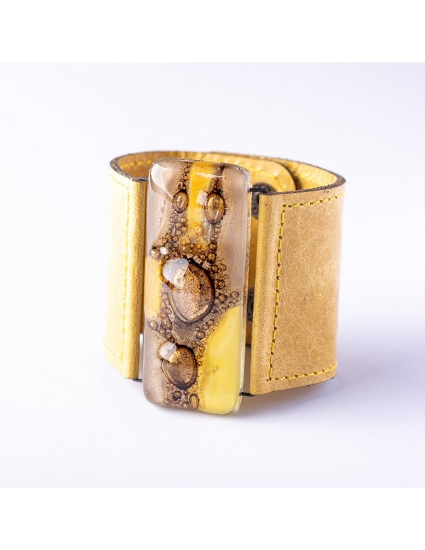 5cm Glass and Leather Cuff by Cristalida in Yellow & natural Tones