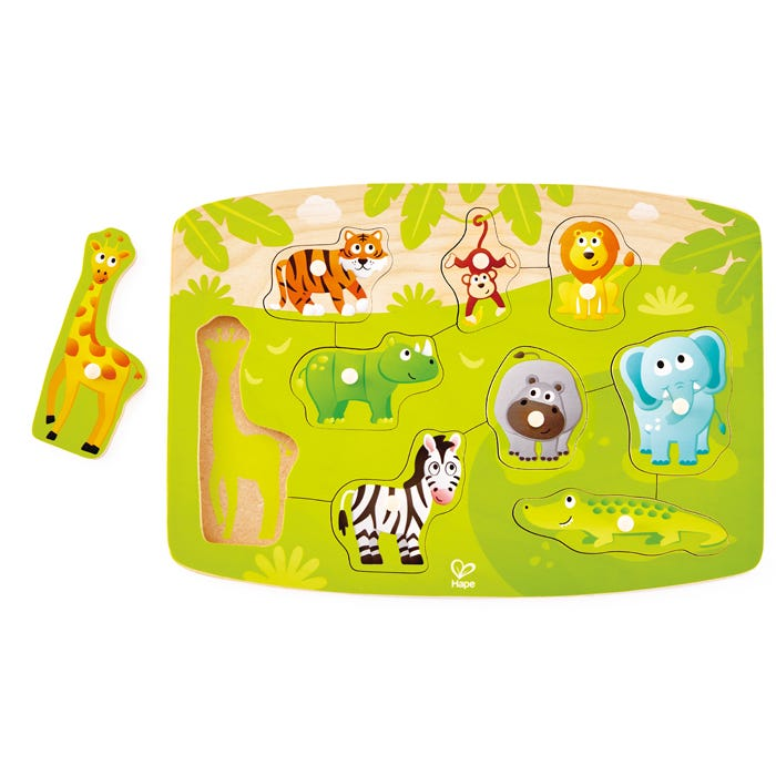 Hape Wooden Peg, Knob  Puzzle Jungle 9 Pieces 2 +