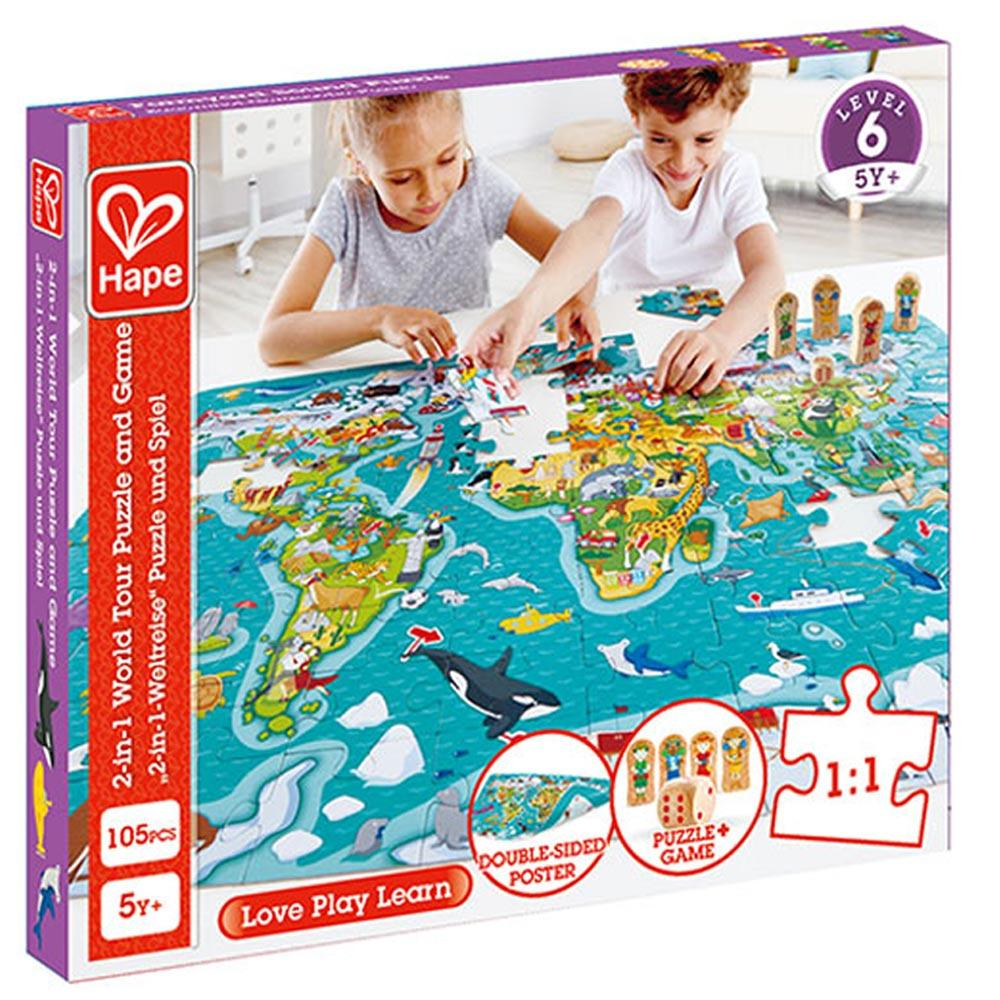 Hape 2-in-1 World Map 105 Puzzle & Game 5+