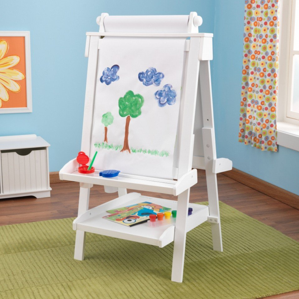Adjustable Wooden Easel - White by Kidkraft  Pre Order ETA end of July