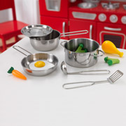 Deluxe Cookware set with Food by Kidkraft x 11 pieces
