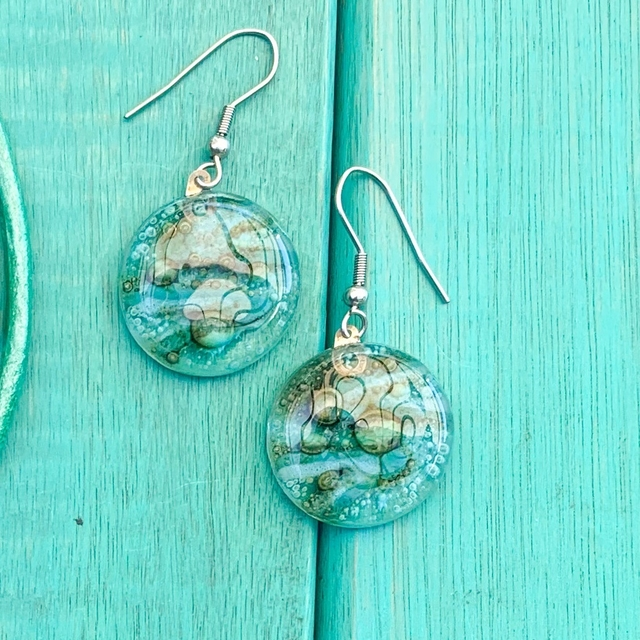 Round Basic Earrings in Glass & Metal in Emerald Tones by Cristalida