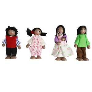 Wooden African Dolls Family x 4 by Fun Factory