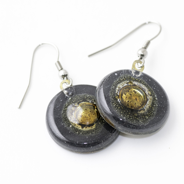 Black Bronze Round Earrings by Cristalida