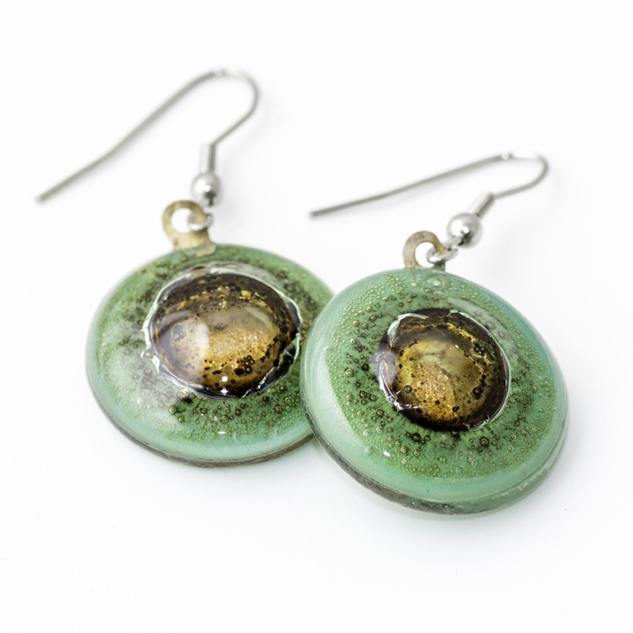 Green Bronze Round Earrings by Cristalida