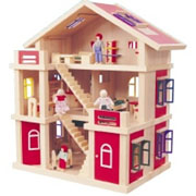 Wooden 3 Level Red Doll House-Play Center