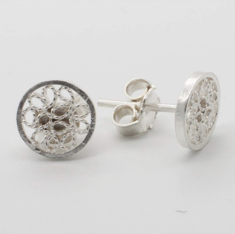 Filigree Sterling Silver XS Circle Web (Circolo Web) Stud Earrings by Gaviota