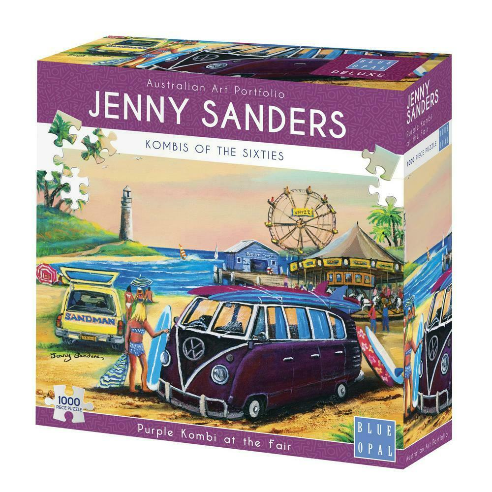 Blue Opal - Purple Kombi at the Fair 1000 pc Jigsaw Puzzle By Artist Jenny Saunders
