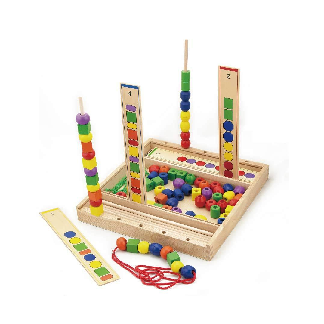 Wooden Sequence beads - pattern making & lacing by Viga Toys