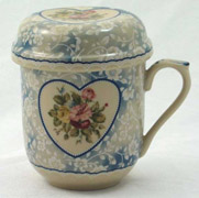Blue Heart Rose Herbal Tea Mug with Lid by Somerton Green