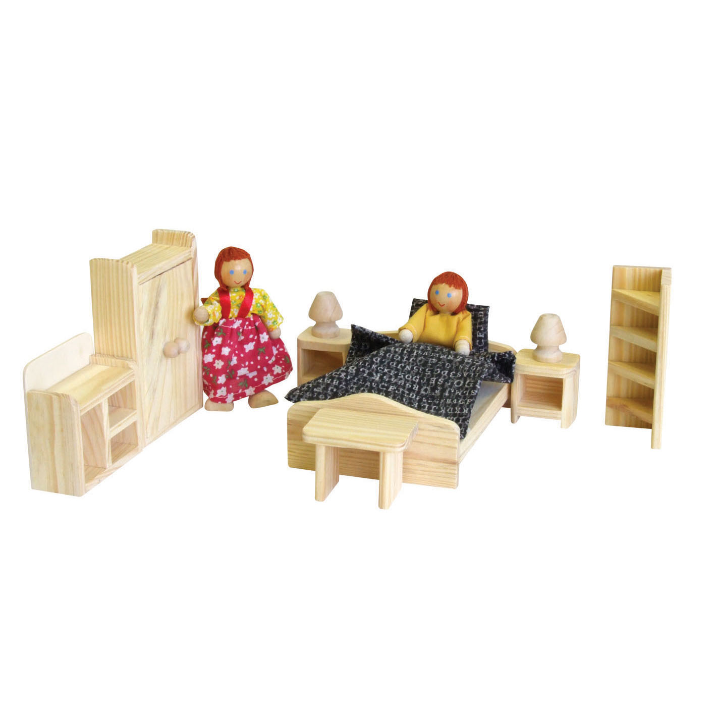 Wooden Doll House Double Bedroom furniture setting by Timbertop Toys