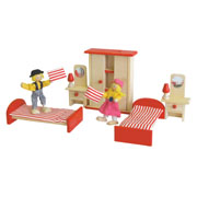 Wooden Twin Bedroom Setting in red for Doll House