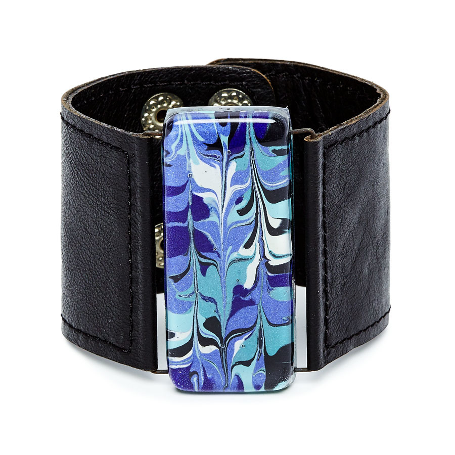 Blue White Marbled Glass and Leather Cuff by Cristalida