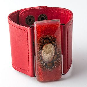Red Bronze Glass and Leather Cuff by Cristalida