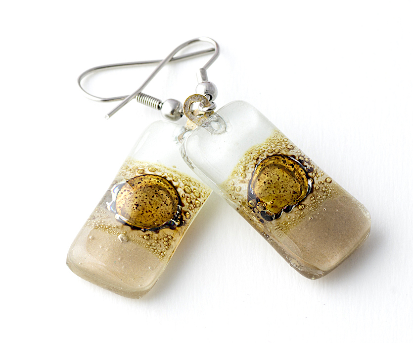 Natural White Rectangle Earrings by Cristalida