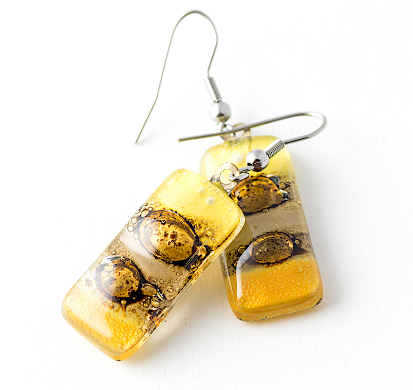 Yellow Rectangle Earrings by Cristalida