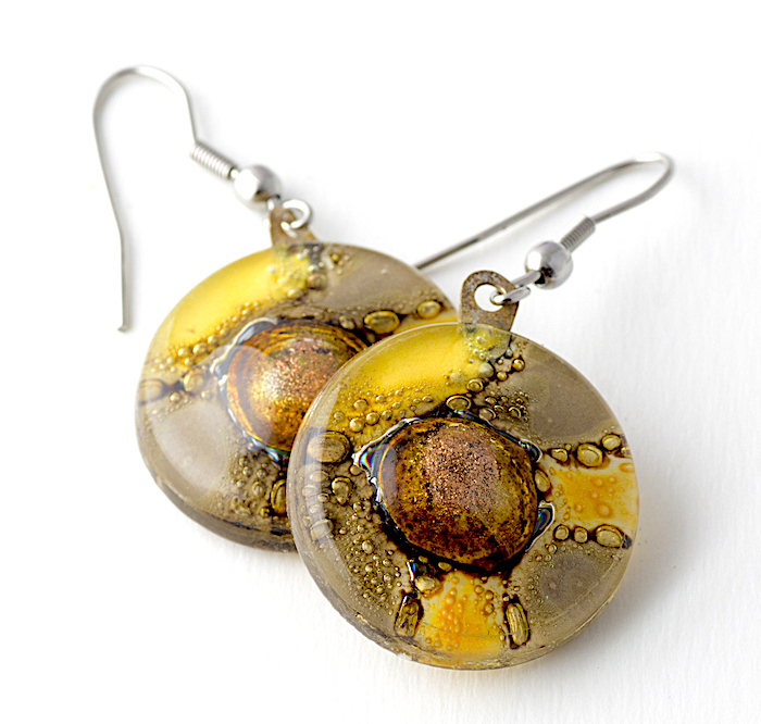 Yellow Round Earrings by Cristalida