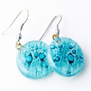 Clear Blue Round Earrings by Cristalida