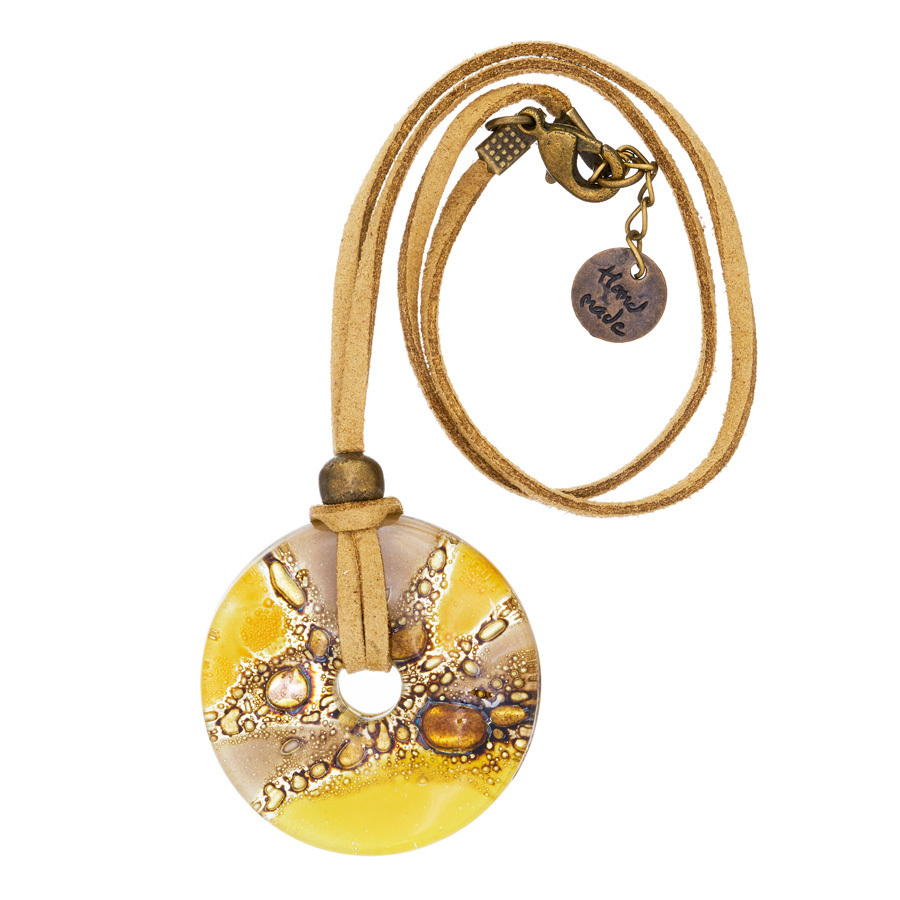 Yellow Bronze Candy Glass Fusion Round Pendant by Cristalida