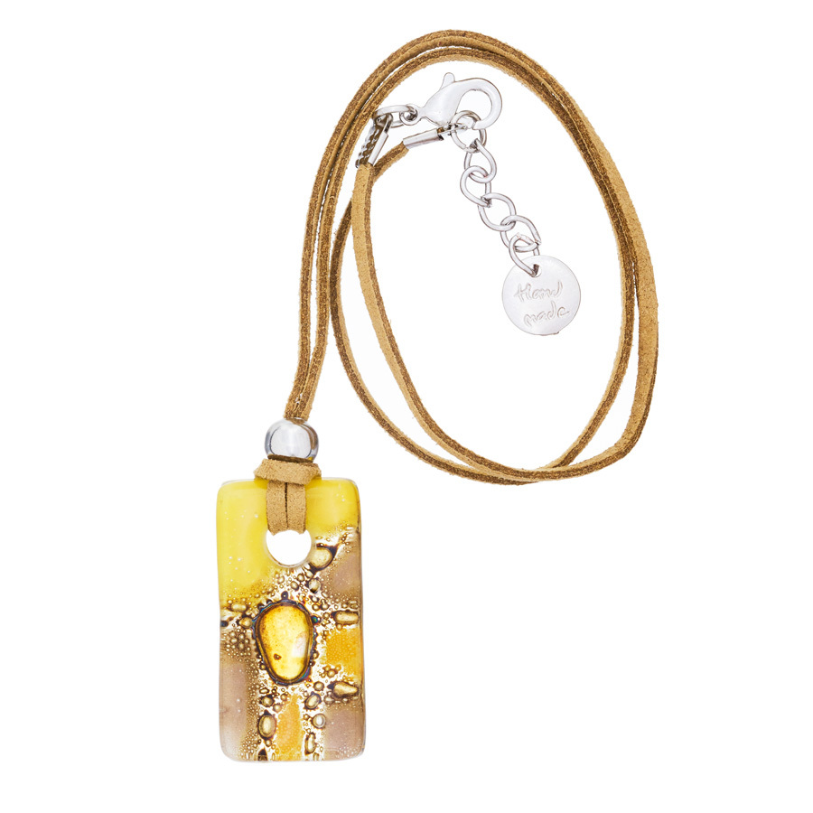 Yellow Candy Rectangle Glass Fusion Pendant by Cristalida