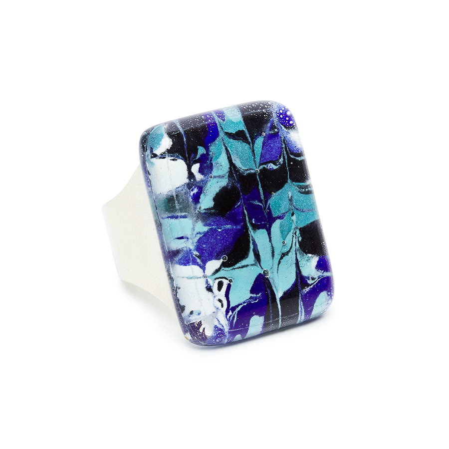 Blue & White Marbled Glass Montecarlo Ring by Cristalida