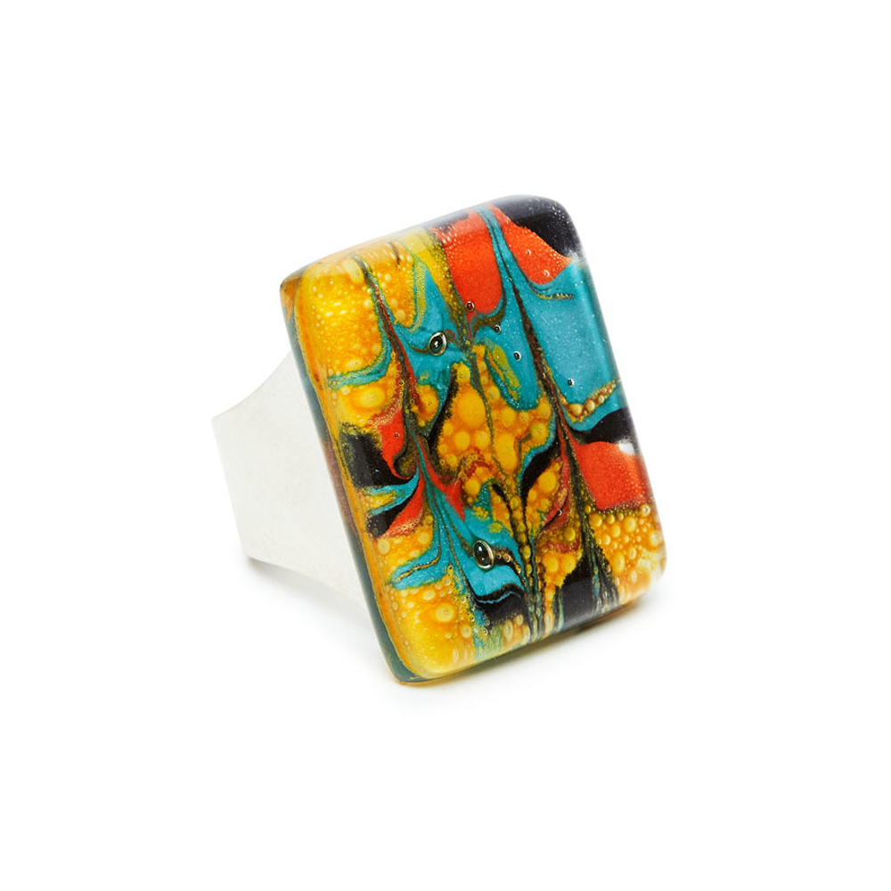 Tropicana Marbled Glass Montecarlo Ring by Cristalida