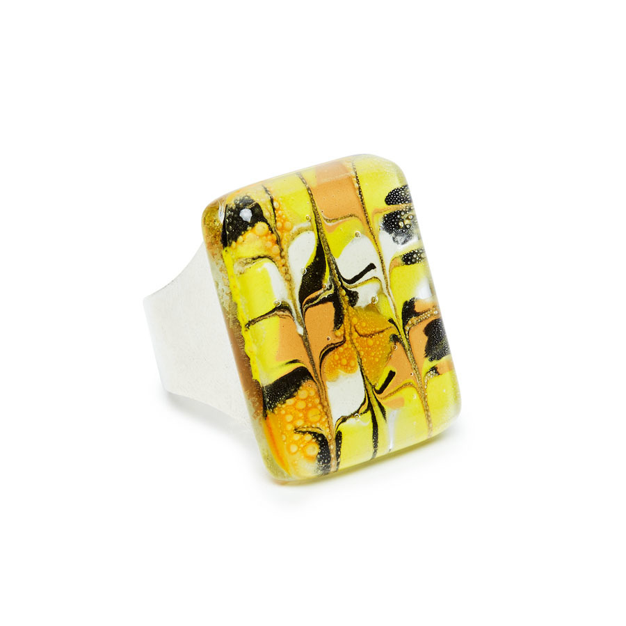 Mellow Yellow Marbled Glass Montecarlo Ring by Cristalida