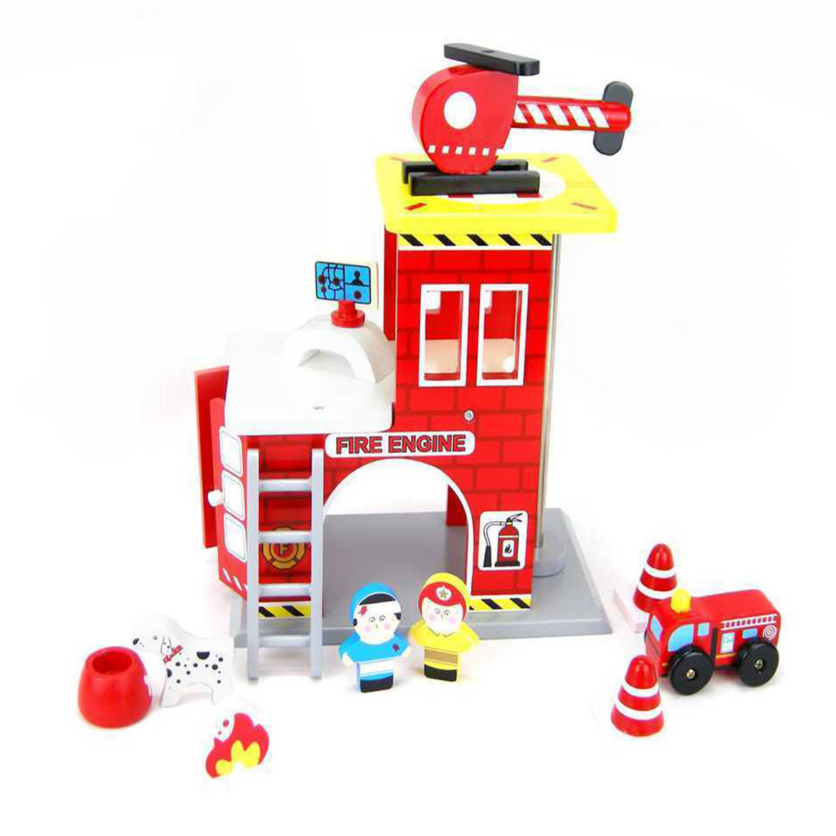 Wooden Fire Station Playset by Kaper Kidz 3+