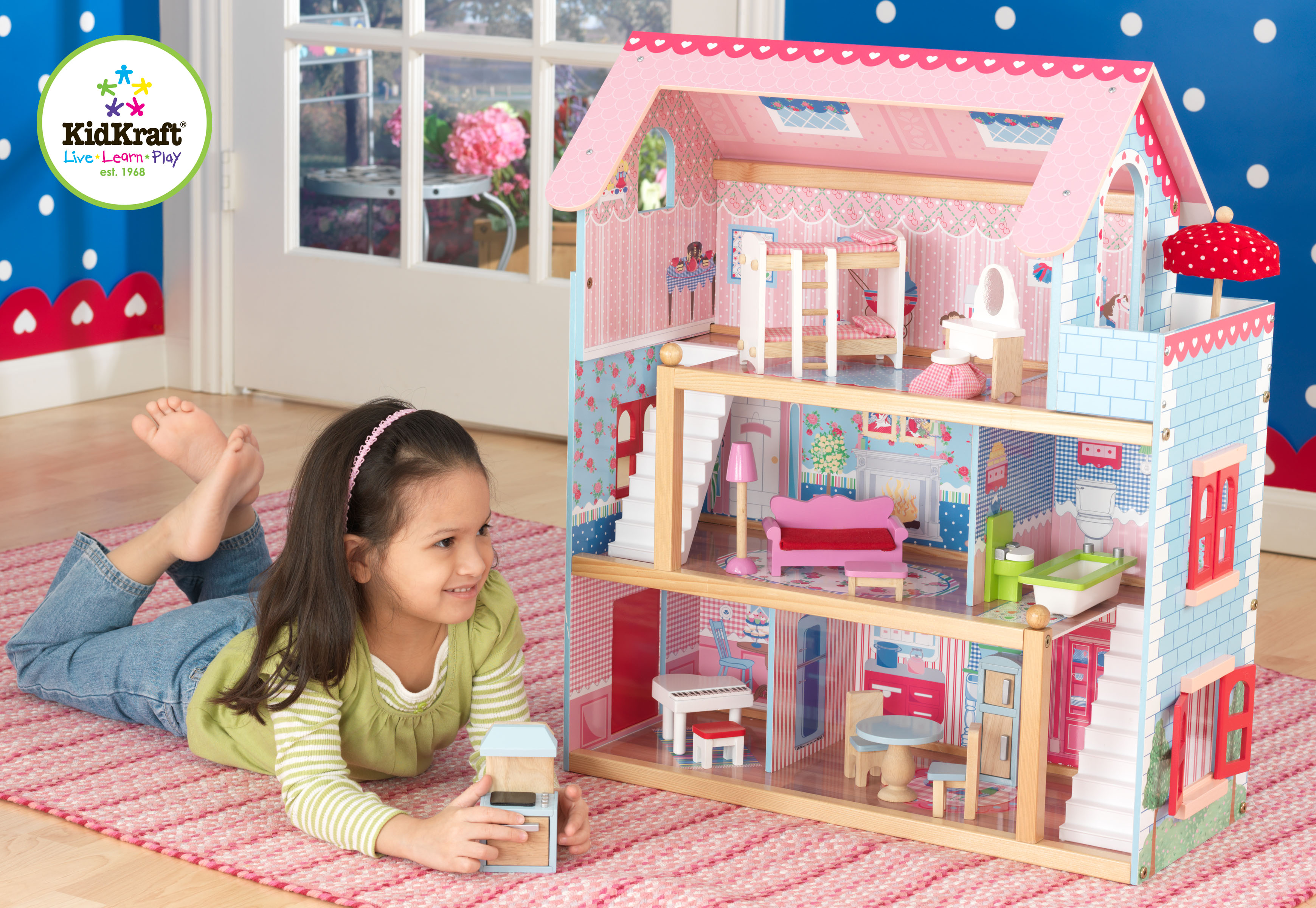 Back in stock this loved dollhouse by Kidkraft ~ Wooden Chelsea Doll Cottage