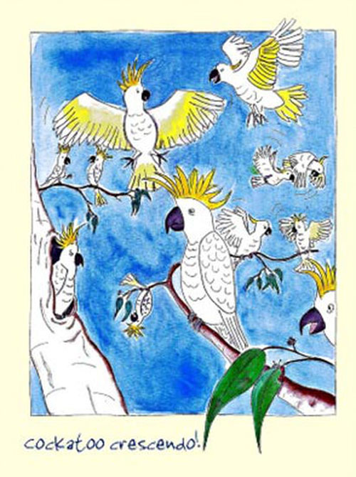 Australian Greeting Card ~ Cockatoo Crescendo