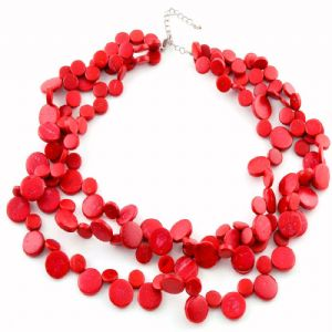 Red Smarties 3 Strand Necklace by Cool Coconut
