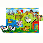 Wooden knob farm animals puzzle by Fun Factory