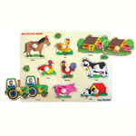 Wooden knob farm puzzle by Fun Factory