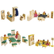 Wooden furniture for doll house - Package NO 3
