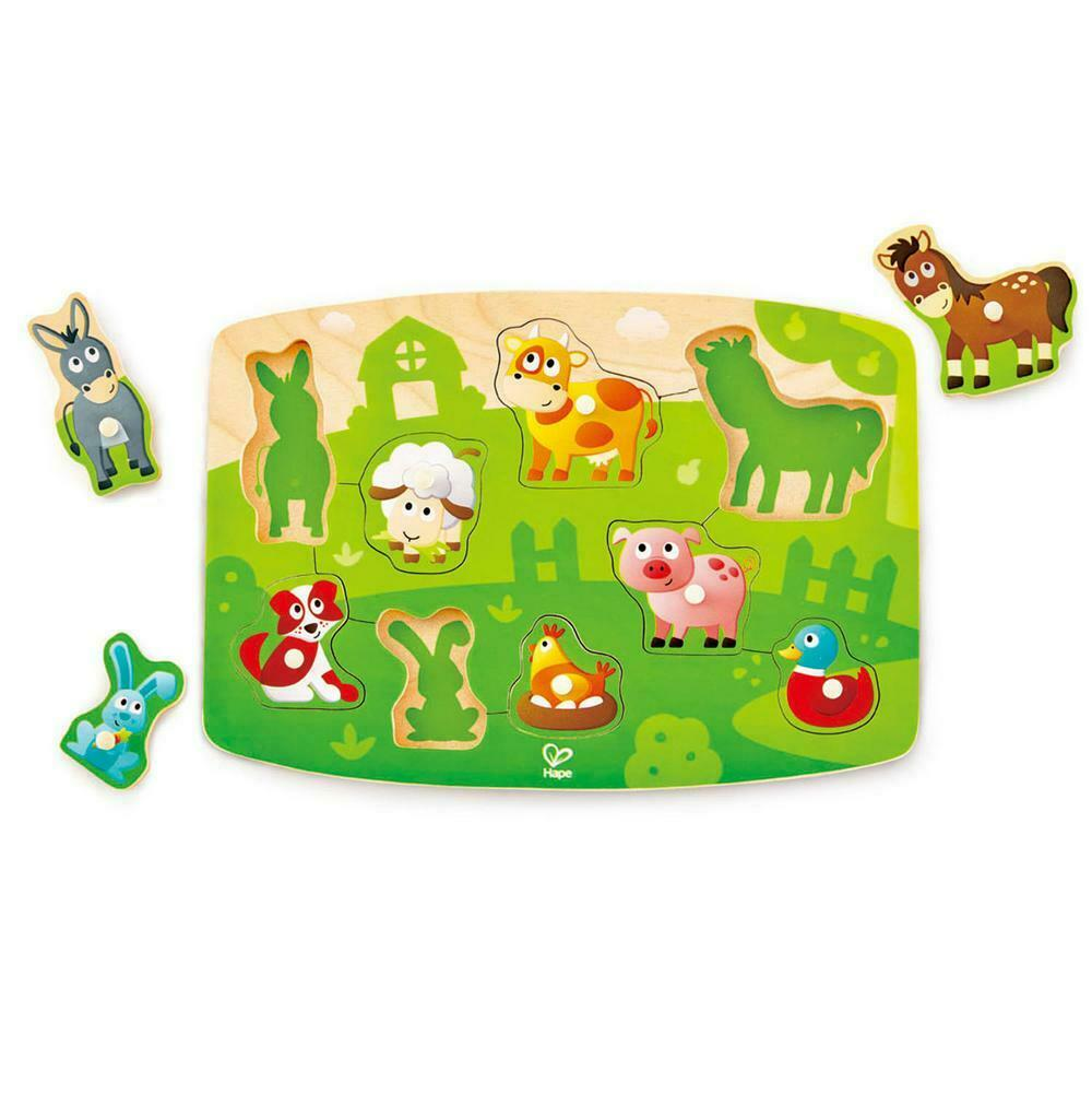 Hape Wooden Peg, Knob  Puzzle Farmyard 9 Pieces 2 +