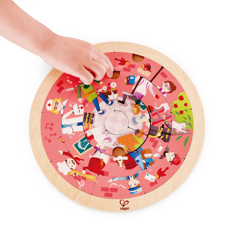 Hape Wooden Jobs roundabout Double sided 20 Pieces 4 +