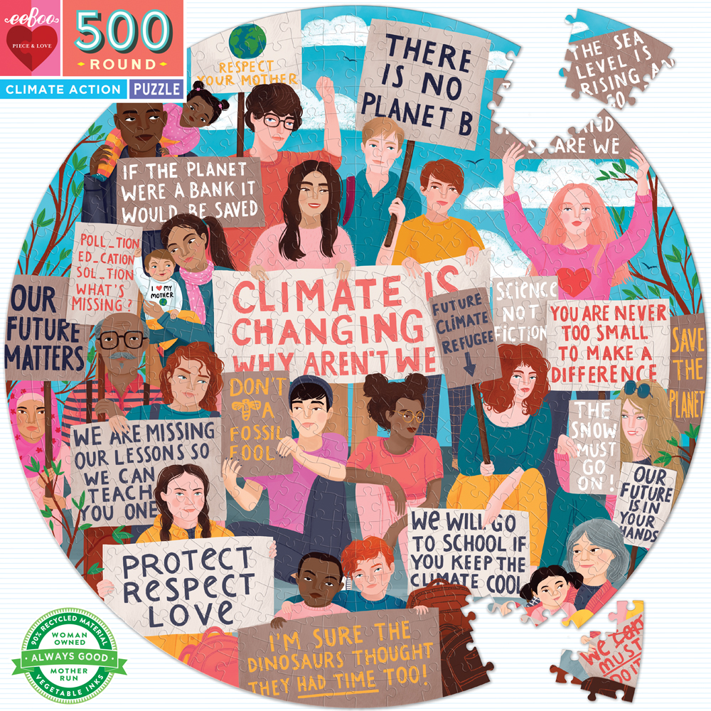Climate Action 500 Piece Round Jigsaw Puzzle by eeboo