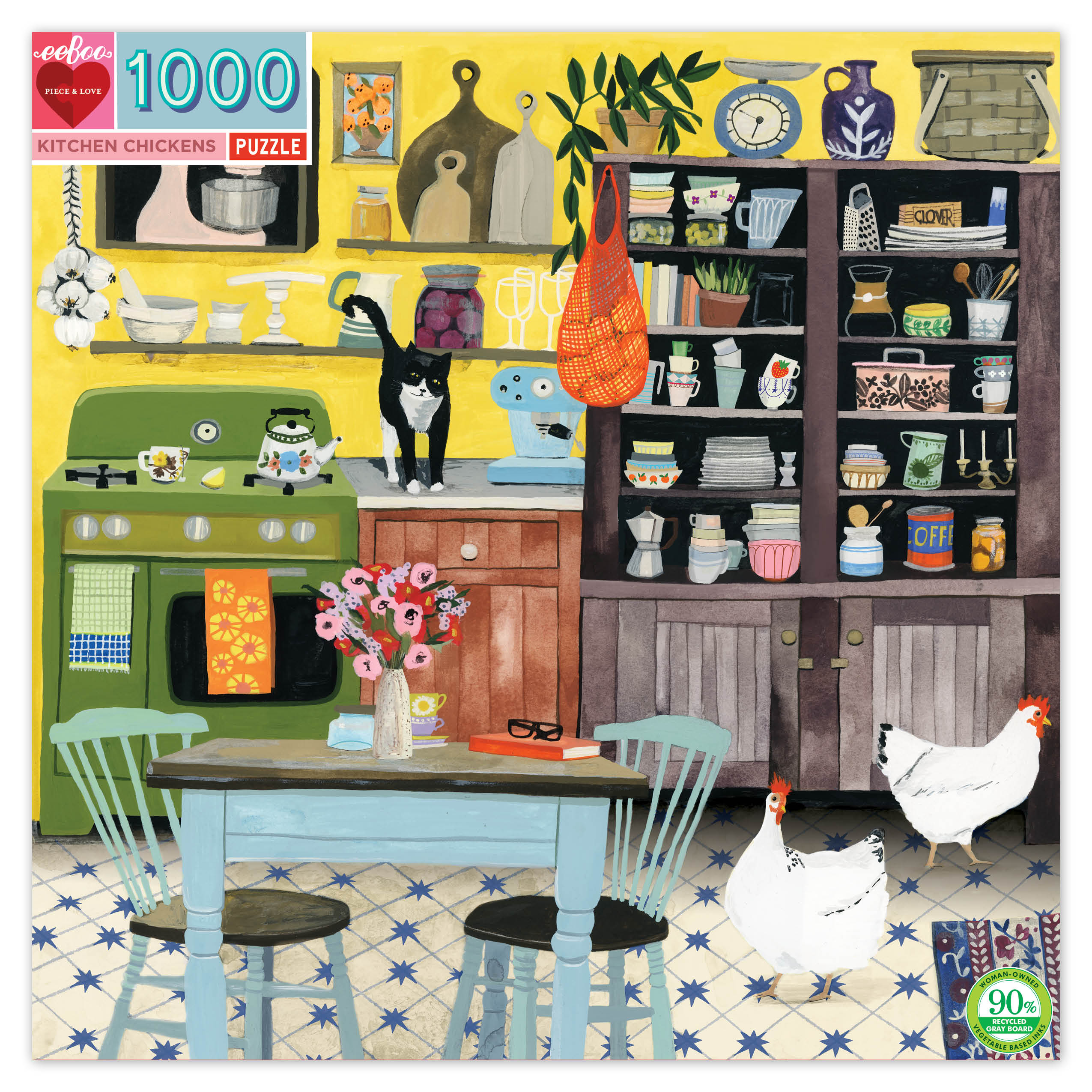 Kitchen Chickens 1000 Piece Jigsaw Puzzle by eeboo