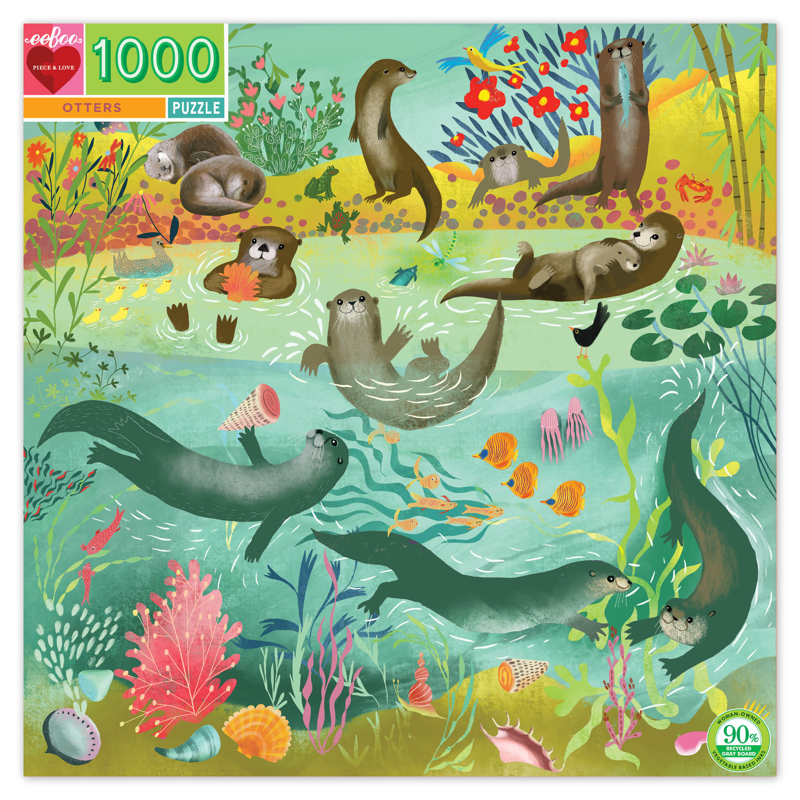 Otters 1000 Piece Jigsaw Puzzle by eeboo