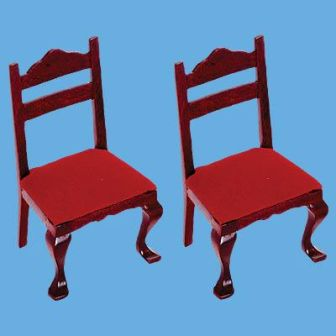 2 Miniature Mahogany Dining Chairs - collectors item by Butlers