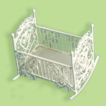 MINIATURE--ANTIQUE ORNATE ROCKING CRADLE