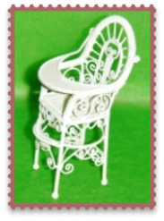 MINIATURE--ANTIQUE ORNATE HIGH CHAIR